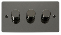 Click Define Flat Plate Black Nickel 3Gang 2Way Dimmer 400W FPBN153