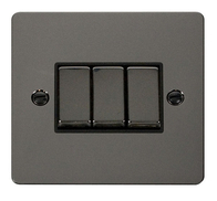 Click Define Flat Plate Black Nickel 3Gang 2Way Switch FPBN413