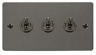 Click Define Flat Plate Black Nickel 3Gang 2Way Toggle Switch FPBN423