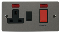 Click Define Flat Plate Black Nickel 45A Cooker Control Unit With Neon FPBN205