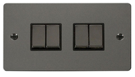 Click Define Flat Plate Black Nickel 4Gang 2Way Switch FPBN414