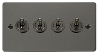 Click Define Flat Plate Black Nickel 4Gang 2Way Toggle Switch FPBN424
