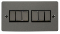 Click Define Flat Plate Black Nickel 6Gang 2Way Switch FPBN416