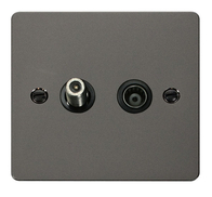 Click Define Flat Plate Black Nickel Coaxial and Satallite Socket FPBN157