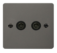 Click Define Flat Plate Black Nickel Twin Coaxial Socket FPBN066