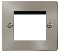 Click Define Flat Plate Brushed Steel Twin Media Plate  FPBS311