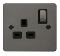 Click Define Flat Plate Brushed Steel 13 Amp Single Socket FPBN535BK