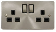 Click Define Flat Plate Brushed Steel 13 Amp Twin Socket FPBS536BK