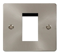 Click Define Flat Plate Brushed Steel Single Euro Plate FPBS310