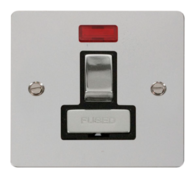 Click Define Flat Plate Polish Chrome 13A Switch Fuse Spur With Neon FPCH752BK