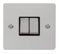 Click Define Flat Plate Polish Chrome 2Gang 2Way Switch FPCH412BK