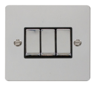 Click Define Flat Plate Polish Chrome 3Gang 2Way Switch FPCH413BK
