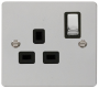 Click Define Flat Plate polished chrome 13A switched socket  FPCH535BK image 1