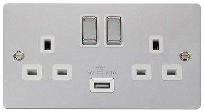 Click Define Flat Plate polished chrome 13A switched sockets  With Usb FPCH570WH image 1