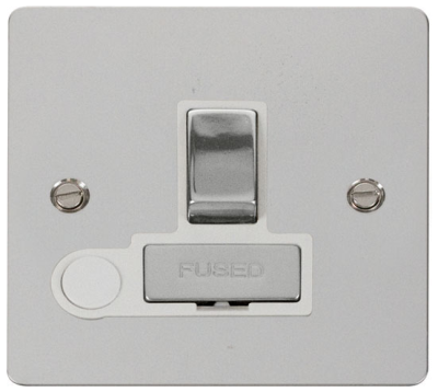 Click Define Flat Plate polished chrome switched connection box FPCH551WH image 1