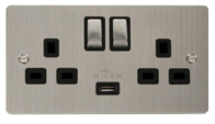 Click Define Flat Plate Stainless Steel 13 Amp Twin Socket with USB FPSS570BK