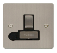 Click Define Flat Plate Stainless Steel 13A Switched Fuse Spur With Outlet FPSS551BK
