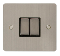 Click Define Flat Plate Stainless Steel 2Gang 2Way Switch FPSS412BK