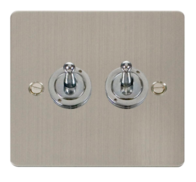Click Define Flat Plate Stainless Steel 2Gang 2Way Toggle Switch FPSS422