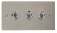 Click Define Flat Plate Stainless Steel 3Gang 2Way Toggle Switch FPSS423