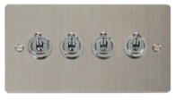 Click Define Flat Plate Stainless Steel 4Gang 2Way Toggle Switch FPSS424