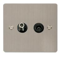 Click Define Flat Plate Stainless Steel Coaxial and Satallite Socket FPSS157BK