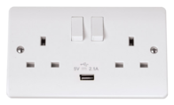 Click Scolmore Mode 13A DP Switched  Double Socket with USB CMA770