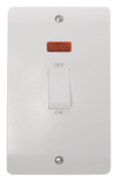 Click Scolmore Mode 45A 2 Gang single Cooker Switch with Neon CMA503