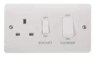 Click Scolmore Mode 45A Cooker Switch with 13A switched socket CMA504