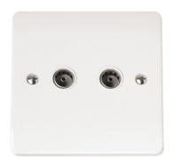 Click Scolmore Mode Twin Non- Isolated Coaxial socket CMA066