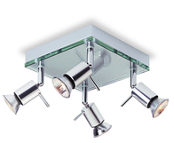 Firstlight Aqua 4 Light Flush Aluminium with Clear Glass 5514AL