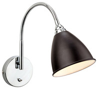 Firstlight Bari Wall Light Switched Black with Chrome 3470BK