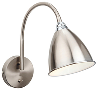 Firstlight Bari Wall Light Switched Brushed Steel with Chrome 3470BS