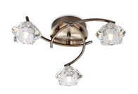 Firstlight Clara 3 Light Flush Fitting 8364AB Antique Brass with Clear Glass