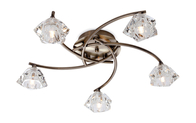 Firstlight Clara 5 Light Flush Fitting 8365AB Antique Brass with Clear Glass