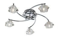 Firstlight Clara 5 Light Flush Fitting 8365CH Chrome with Clear Glass