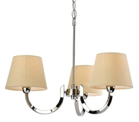 Firstlight Fairmont 3 Light Fitting Polished Stainless Steel with Cream Linen Shade 2321PST