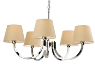 Firstlight Fairmont 5 Light Fitting Polished Stainless Steel with Cream Linen Shade 2322PST
