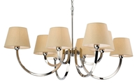Firstlight Fairmont 8 Light Fitting Polished Stainless Steel with Cream Linen Shade 2323PST