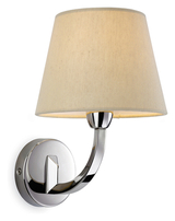 Firstlight Fairmont Wall Light Single Polished Stainless Steel with Cream Linen Shade 2319PST
