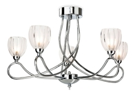 Firstlight Grove 5 Light Flush Fitting 5919CH Chrome with Clear/Frosted Decorative Glass