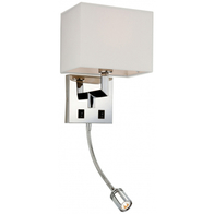 Firstlight Lex 2 Light Wall (switched) Polished Stainless Steel with Cream Shade 3459CR