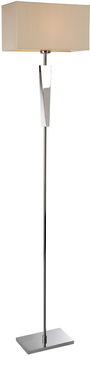 Firstlight Mansion Floor Lamp Polished Stainless Steel with Cream Shade 8228PST image 1