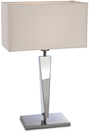 Firstlight Mansion Table Lamp Polished Stainless Steel with Cream Shade 8227PST