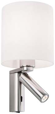 Firstlight Newbury 2 Light Wall Switched 3409BS Brushed Steel with Opal Acrylic Shade image 1