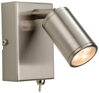 Firstlight Orion LED Wall Light Switched Brushed Steel 3453BS