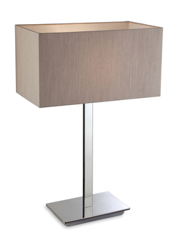 Firstlight Prince Table Lamp Polished Stainless Steel with Oyster Shade 8329OY