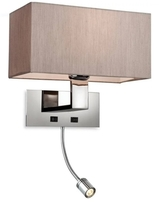 Firstlight Prince Wall Light 8608OY Polish Chrome and Oyster Shade