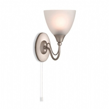 Firstlight Santana Single Wall Light (switched) Satin Steel with Opal Glass 8036SS image 1