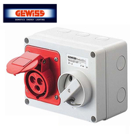 Gewiss 415V Interlocked Switched Socket 16A 3P & E GW66008